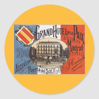 Vintage Travel, Grand Hotel Paix, Madrid, Spain Classic Round Sticker