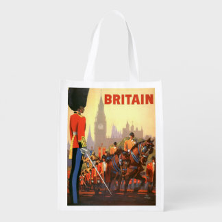 Vintage Travel, Great Britain England, Royal Guard Grocery Bag