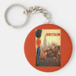 Vintage Travel, Great Britain England, Royal Guard Basic Round Button Keychain