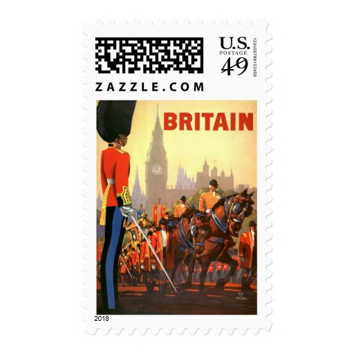 Vintage Travel, Great Britain England, Royal Guard Stamp