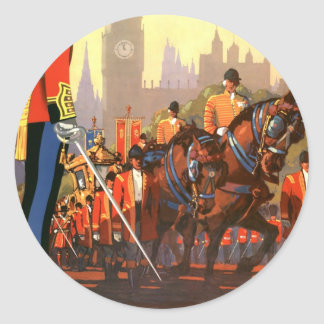Vintage Travel, Great Britain England, Royal Guard Classic Round Sticker