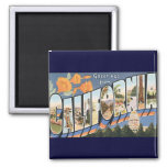 Vintage Travel, Greetings from California Poppies 2 Inch Square Magnet