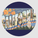 Vintage Travel, Greetings from California Poppies Classic Round Sticker