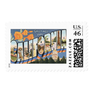 Vintage Travel Greetings from California Poppies Postage Stamp