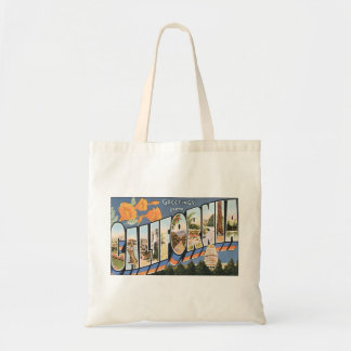 Vintage Travel, Greetings from California Poppies Tote Bag