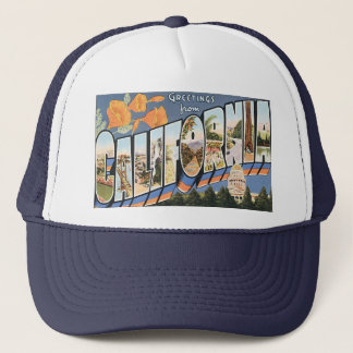 Vintage Travel, Greetings from California Poppies Trucker Hat