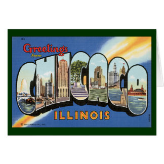 Vintage Travel, Greetings from Chicago Illinois Card