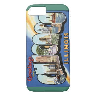 Vintage Travel, Greetings from Chicago Illinois iPhone 7 Case