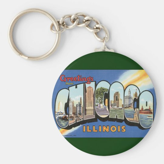Vintage Travel, Greetings from Chicago Illinois Keychain