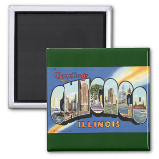 Vintage Travel, Greetings from Chicago Illinois Magnet