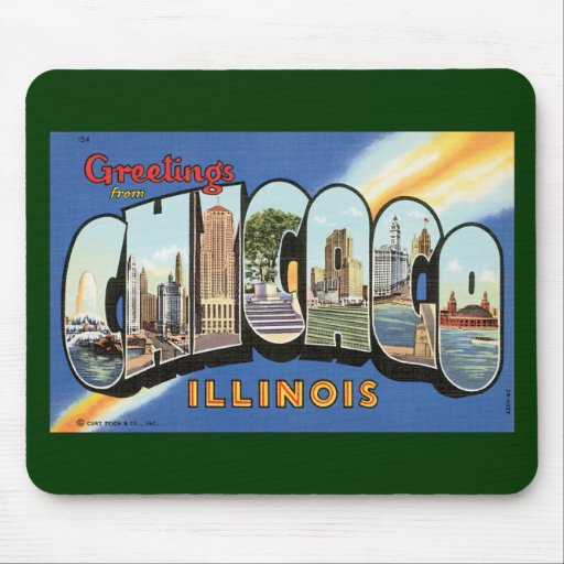 Vintage Travel, Greetings from Chicago Illinois Mouse Pad
