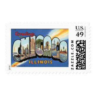 Vintage Travel, Greetings from Chicago Illinois Postage