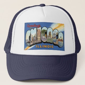 Vintage Travel, Greetings from Chicago Illinois Trucker Hat