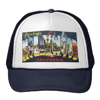 Vintage Travel Greetings from Hollywood California Trucker Hat