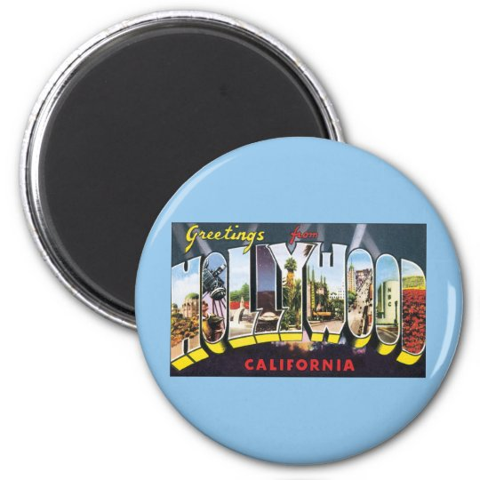 Vintage Travel Greetings from Hollywood California Magnet
