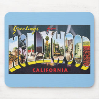 Vintage Travel Greetings from Hollywood California Mouse Pad
