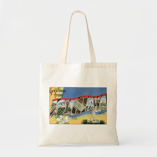 Vintage Travel, Greetings From Louisiana Gulf Tote Bag