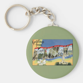 Vintage Travel, Greetings From Louisiana Basic Round Button Keychain