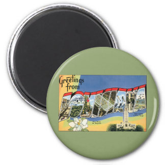 Vintage Travel, Greetings From Louisiana 2 Inch Round Magnet