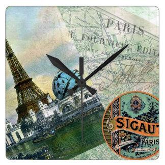 Vintage Travel in Paris Square Wall Clock