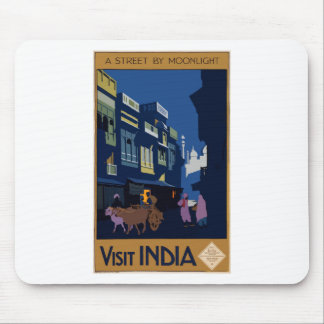 Vintage Travel India A Street By Moonlight Mouse Pad