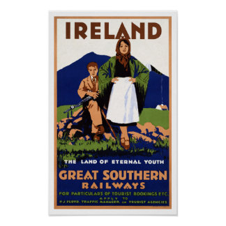 Vintage Travel Ireland Land of Eternal Youth Poster