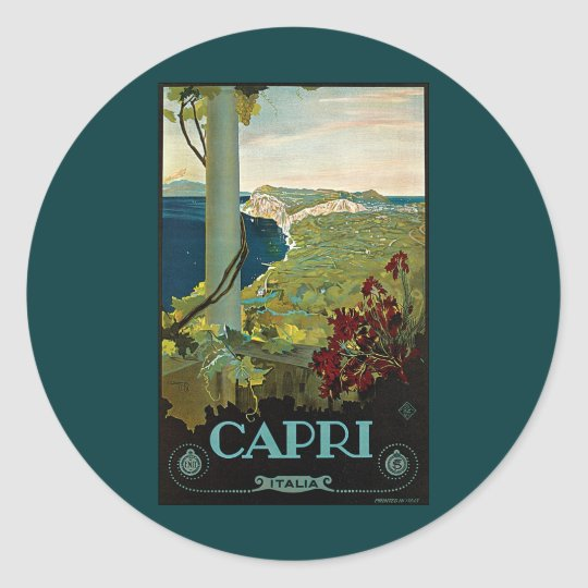 Vintage Travel, Isle of Capri, Italy Italia Coast Classic Round Sticker