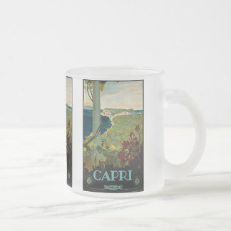 Vintage Travel, Isle of Capri, Italy Italia Coast Frosted Glass Coffee Mug