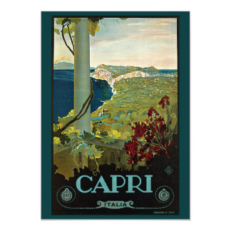 Vintage Travel, Isle of Capri, Italy Italia Coast 5x7 Paper Invitation Card