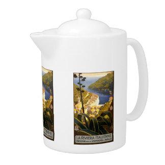 Vintage Travel Italian Riviera Italy teapot