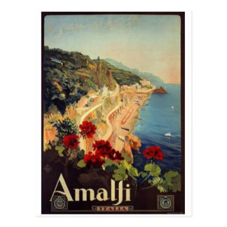 Vintage travel Italy, Amalfi - Postcard
