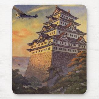 Vintage Travel Japan, Japanese Pagoda Airplane Mouse Pad