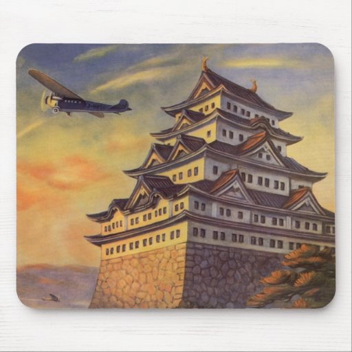 Vintage Travel Japan, Japanese Pagoda Airplane Mouse Pad