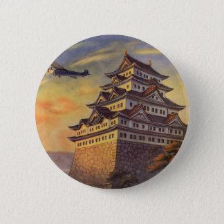 Vintage Travel Japan, Japanese Pagoda Airplane Pinback Button