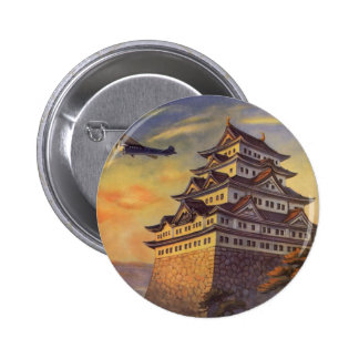 Vintage Travel Japan, Japanese Pagoda Airplane Pinback Button
