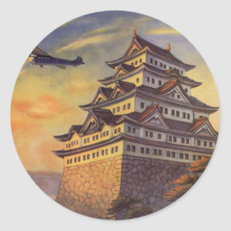 Vintage Travel Japan Japanese Pagoda Airplane Stickers
