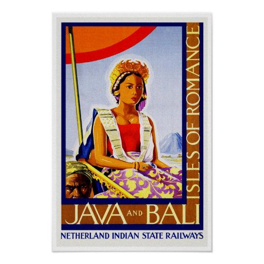 Bali Indonesia Vintage Travel  advertising poster reproduction.