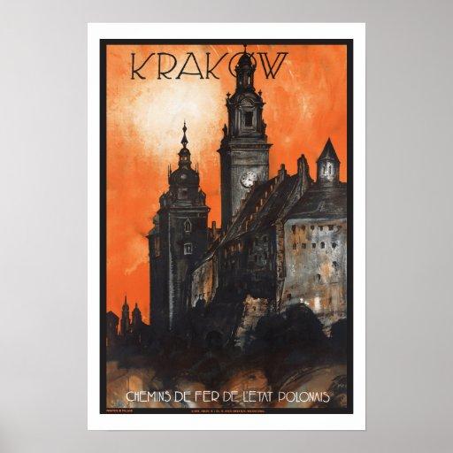 Vintage Travel Krakow Poland Print