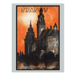 Vintage Travel Krakow Poland Railways Postcard