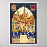 Vintage travel,Krakow Poster