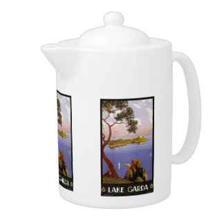 Vintage Travel Lake Garda Italy teapot