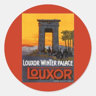 Vintage Travel, Louxor Winter Palace, Egypt Africa Classic Round Sticker