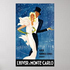 Vintage Travel, Love Romance Romantic Monte Carlo Print
