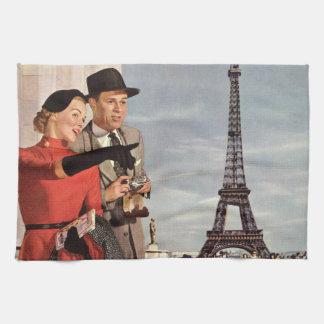 Vintage Travel - Lovers in Paris Kitchen Towels