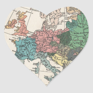 Vintage Travel Map Heart Sticker