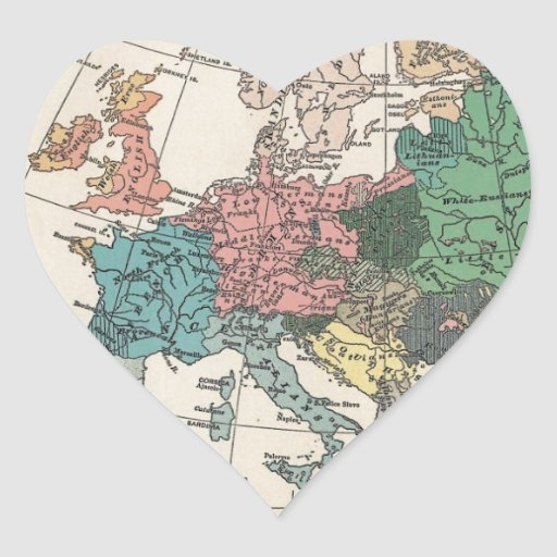 Vintage Travel Map Heart Sticker