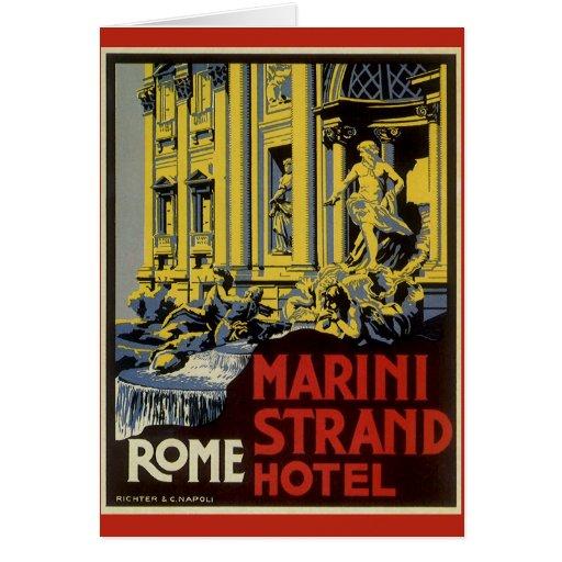 Vintage Travel, Marini Strand Hotel, Rome, Italy Greeting Card