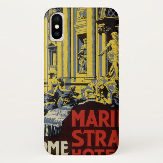 Vintage Travel, Marini Strand Hotel, Rome, Italy iPhone X Case