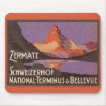 Vintage Travel, Matterhorn Mountain in Switzerland Mousepad