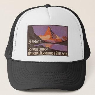 Vintage Travel, Matterhorn Mountain in Switzerland Trucker Hat